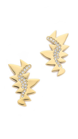 Sam Edelman Jagged Pave Drop Earrings - Gold