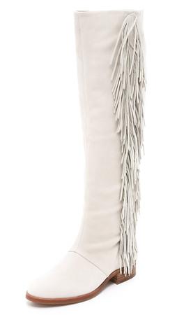 Sam Edelman Josephine Fringe Boots - White