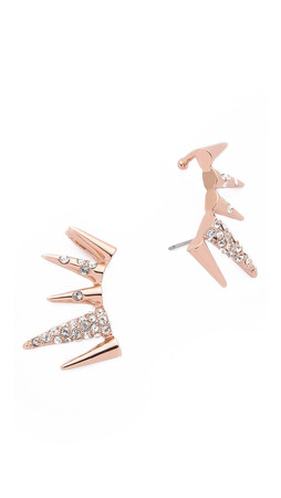 Sam Edelman Pave Spike Ear Crawlers - Clear/Rose Gold