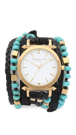 Sara Designs Turquoise Beaded Wrap Watch - Turquoise/Black/Gold