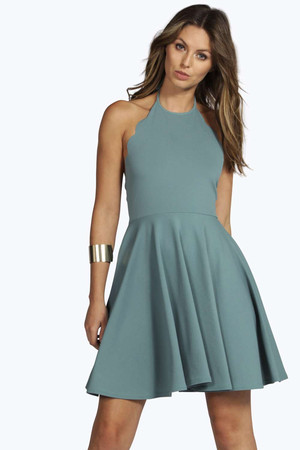 Scallop Neck Skater Dress - teal