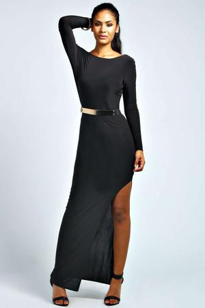 Scoop Back Belted Maxi Dress black
