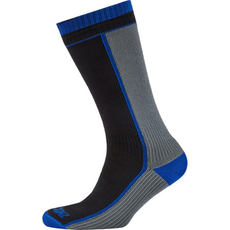 SealSkinz Mid Weight Mid Length Socks - Small Black/Grey/Blue