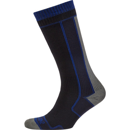 SealSkinz Thin Mid Length Socks - Extra Large Black/Grey