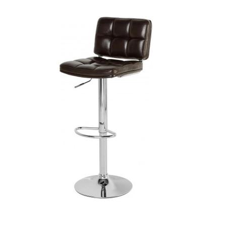 Seconique Hudson Swivel Bar Chair With Gas Lift PAIR - Brown PU/Chrome