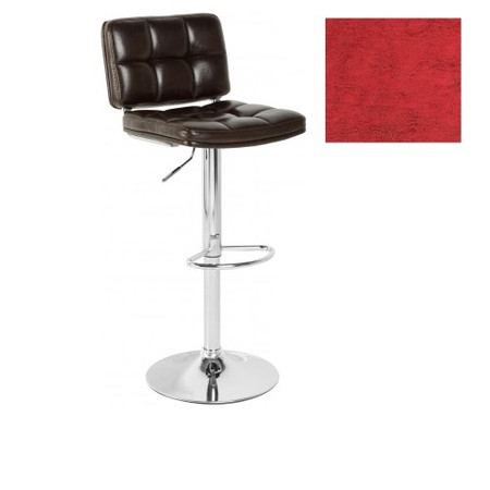 Seconique Hudson Swivel Bar Chair With Gas Lift PAIR - Red PU/Chrome