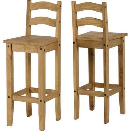 Seconique Pair of Original Corona Pine Bar Chairs