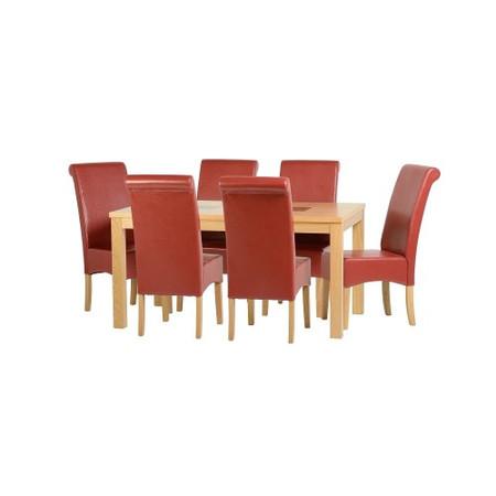 Seconique Wexford 59 Dining Set - G10 - Oak Veneer/Walnut Inlay/Rustic Red PU