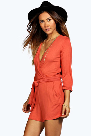 Self Belt Relaxed Fit Playsuit - rust
