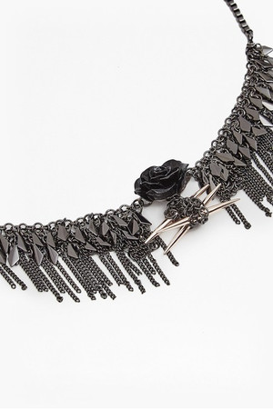 Shaky Rose And Spike Necklace - Hematite/Rose Gold/Morello