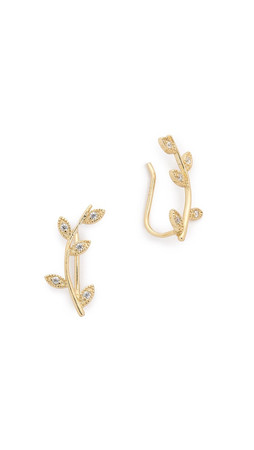 Shashi Amelia Ear Climbers - Gold/Clear