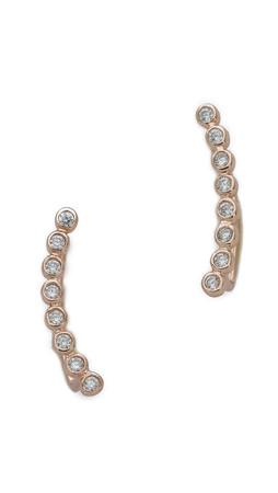 Shashi Noa Ear Climbers - Clear/Rose Gold
