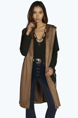 Side Tab Sleeveless Suede Duster - camel