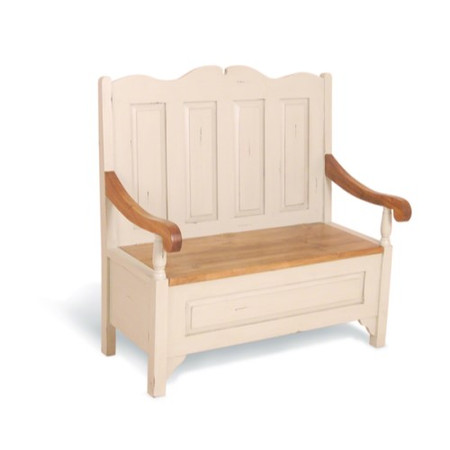 Signature North French Chic Monks Bench - antique white