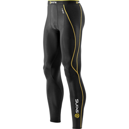SKINS A200 Compression Long Tights - Small Black/Yellow