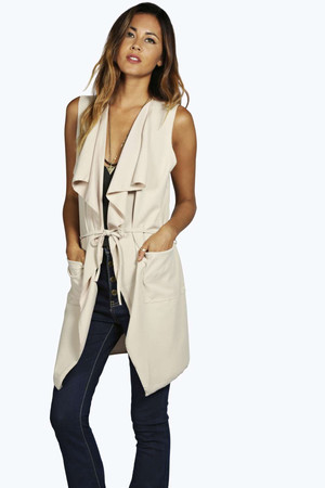 Sleeveless Belted Duster beige