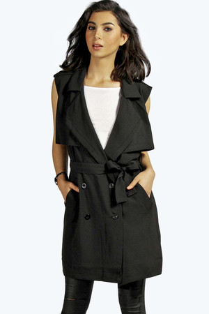 Sleeveless Duster Trench black