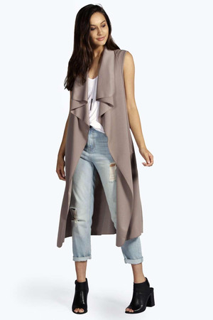 Sleeveless Waterfall Duster Coat - mocha