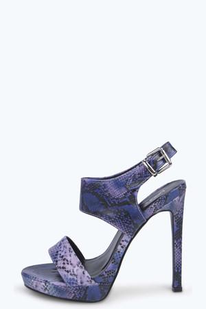 Slingback Snake Print Platform Heels - purple
