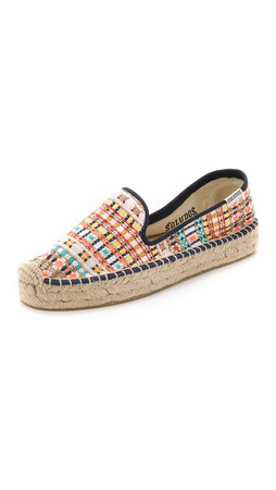 Soludos Malhia Kent X Soludos Tweed Smoking Slipper Espadrilles - White/Gold Multi