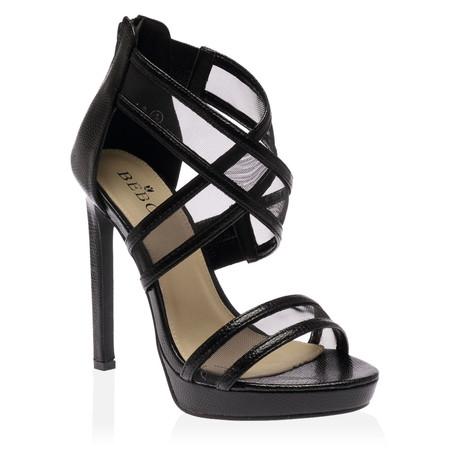 Soraya Black Mesh Band Heels