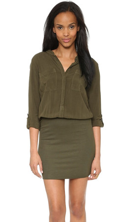 Splendid Combo Shirtdress - Olivine
