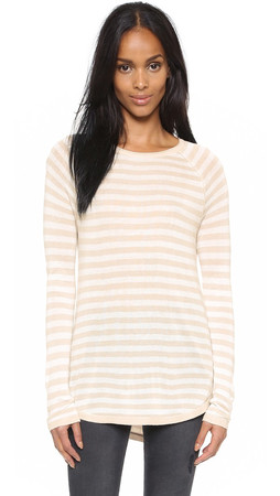 Splendid Easel Striped Sweater - Heather Wheat/White