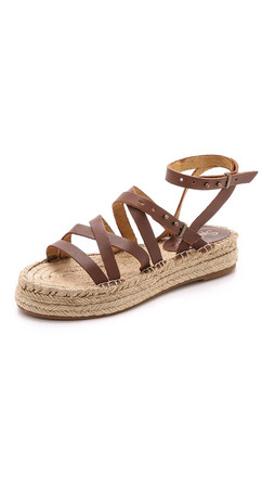 Splendid Erin Double Espadrille Sandals - Cognac