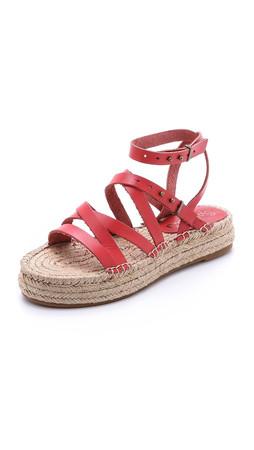 Splendid Erin Double Espadrille Sandals - Red