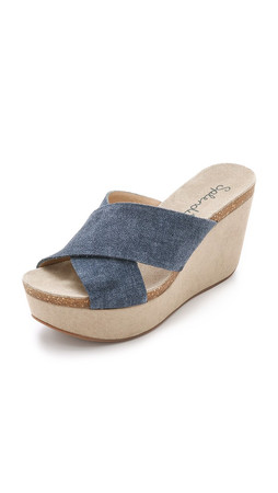 Splendid Grand Suede Wedges - Dark Denim