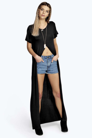 Split Front Short SleTee black
