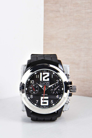 Sports Watch with Rubber Strap - black