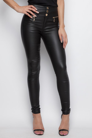 Stacey Black PU High Waisted Jeans