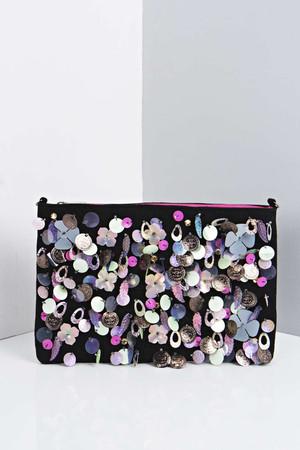 Statement Embellished Clutch Bag multi