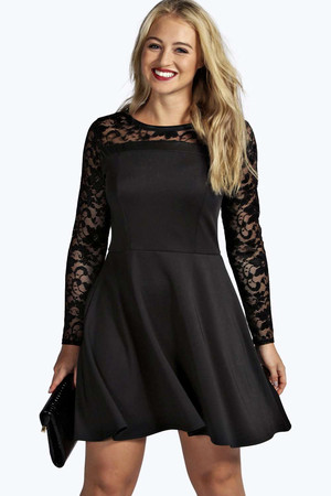 Stella Lace & PU Detail Skater Dress black