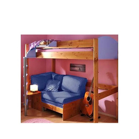 Stompa Casa Kids Natural Highsleeper Bed in Blue with Black Sofa Bed