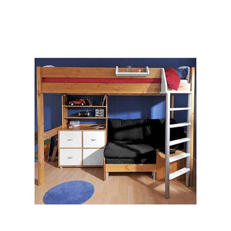 Stompa Casa Kids Natural Highsleeper Bed in White with Pink Sofa Bed Shelving and Storage