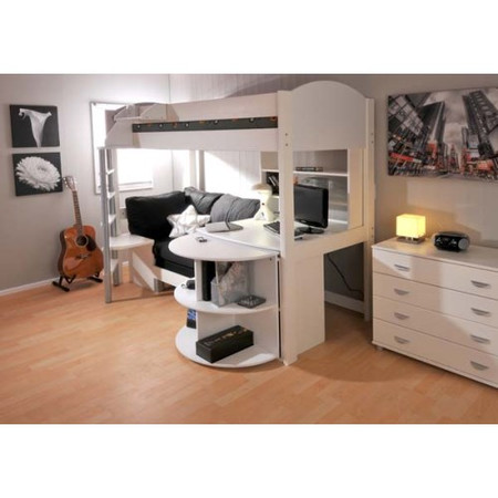 Stompa Casa Kids White Highsleeper Bed with Black Sofa Bed Desk Shelving and Storage
