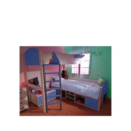 Stompa Casa Kids White Storage Bunk Bed in Blue