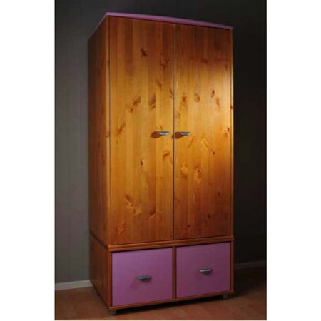 Stompa Combo Kids Natural 2 Door 2 Cube Wardrobe in Lilac