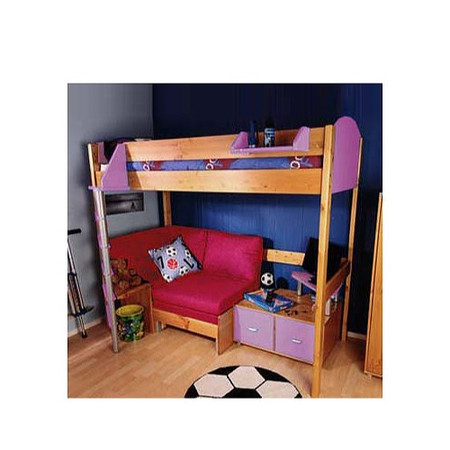 Stompa Combo Kids Natural Highsleeper Bed in Lilac with Blue Denim Sofa Bed and TV Unit