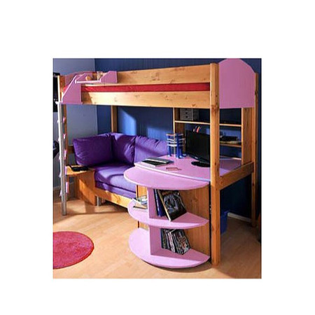 Stompa Combo Kids Natural Highsleeper Bed in Lilac with Sofa Bed Desk and Shelving - pink sofa bed