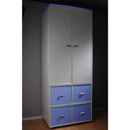 Stompa Combo Kids White 2 Door 4 Cube Wardrobe in Blue