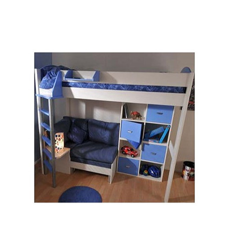 Stompa Combo Kids White Highsleeper Bed in Blue with Blue Denim Sofa Bed and Double Storage