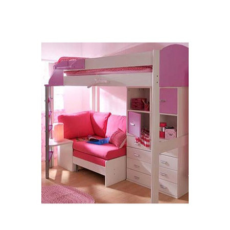 Stompa Combo Kids White Highsleeper Bed in Lilac with Blue Denim Sofa Bed Chest and Storage