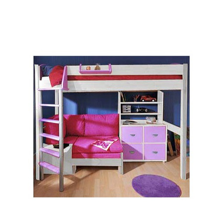 Stompa Combo Kids White Highsleeper Bed in Lilac with Blue Denim Sofa Bed Shelving and Storage