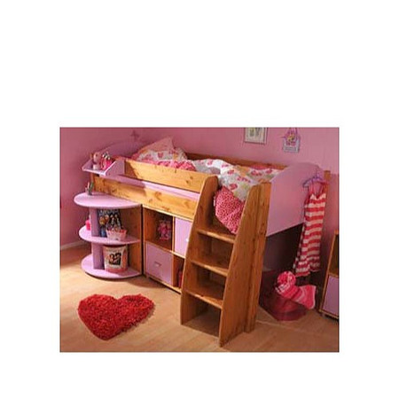 Stompa Rondo Kids Natural Midsleeper Bed in Lilac with Desk and Storage