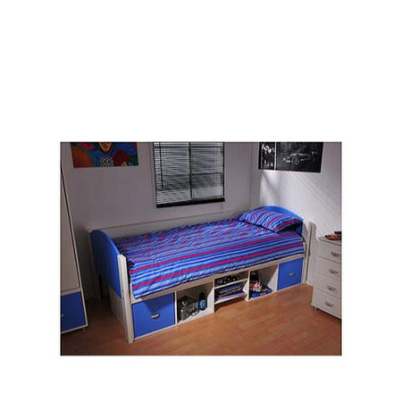Stompa Solo Kids White Storage Single Bed Frame in Blue