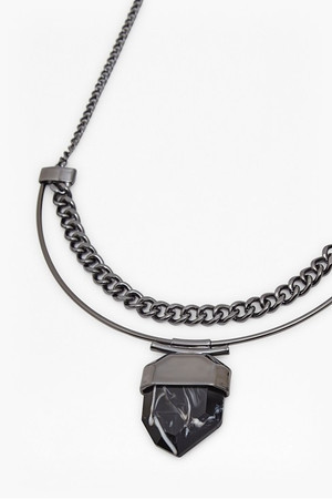 Stone And Chain Necklace - Rhodium/Black