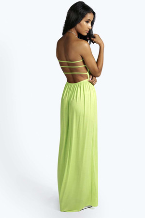 Strappy Back Bandeau Maxi Dress lime
